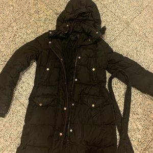 JCrew Black Puffer with Tie Waist and Hood